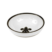 "9"" Serving Bowl with Fleur de Lis in Black"