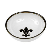 "11"" Serving Bowl in Black Fleur de Lis"