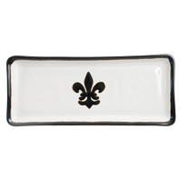 "14"" Long Rectangular Tray in Black Fleur de Lis"