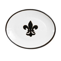 "12"" Platter with Fleur de Lis in Black"