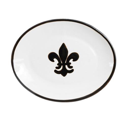 """12"""" Platter with Fleur de Lis in Black"""