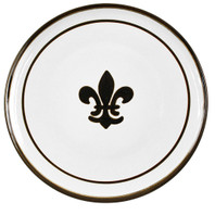 "16"" Round Platter with Fleur de Lis in Black"