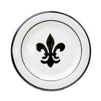 "11"" Rimmed Plate with Fleur de Lis in Black, Stoneware"