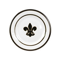 "9"" Rimmed Plate with Fleur de Lis in Black, Stoneware"
