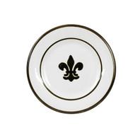 """8"""" Plate with Fleur de Lis, Black,  Stoneware"""