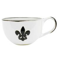 Black Fleur de Lis Large Coffee Mug, Stoneware