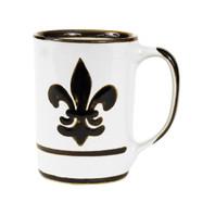 Black Fleur de Lis Mug, Stoneware