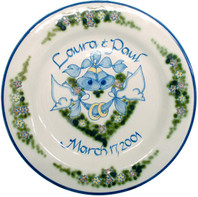 """Personalized 11"""" Rimmed Bells & Doves Plate"""