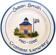 "Personalized 11"" Rimmed School House Plate"