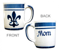 Personalized 14 oz Blue Fleur De Lis Mug