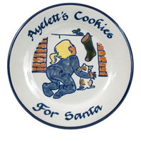"Personalized 9"" Rimmed Plate with Girl Leaving Cookies for Santa"