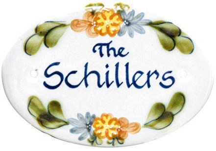 Personalized Door Plaque, Country Flower Blue