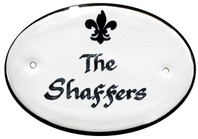 Personalized Door Plaque, Black Fleur de Lis