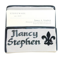 Personalized Fleur de Lis Business Card Holder