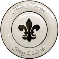 """Personalized 11"""" Rimmed Black Fleur de Lis Plate"""