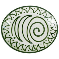 "Thin 15"" Oval Platter in Graffiti Green, Stoneware Serving Platter"