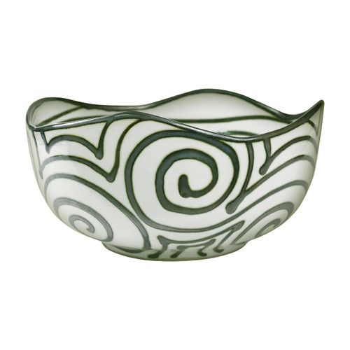 "14"" Small Landscape Bowl in Graffiti Green"