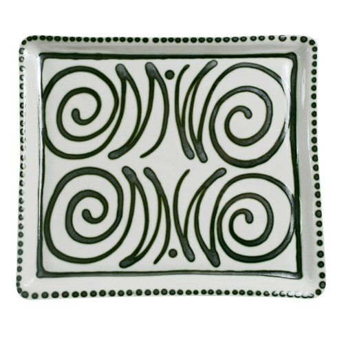 "14"" Square Tray in Graffiti Green, Stoneware Serving Tray"
