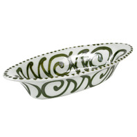 "15.5"" Small Soiree Bowl in Graffiti Green, Stoneware Serving Bowl"