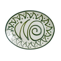 "Graffiti Green 12"" Oval Platter"