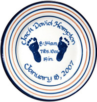 "9"" Rimmed Birth Plate Personalized with Baby's Footprint"