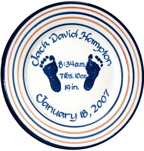 Personalized Baby Birth Plate with Footprints