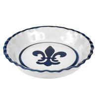 Pinched Rim Pie Plate in Blue Fleur de Lis