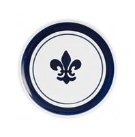 """9"""" Thin Plate in Blue Fleur de Lis"""