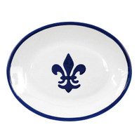 "Thin 15"" Oval Platter in Fleur De Lis Blue"