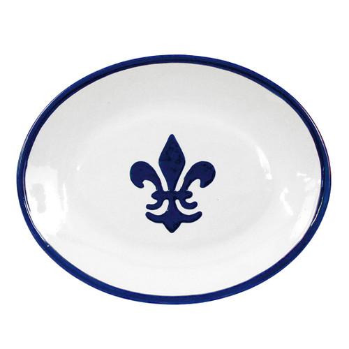 """Thin 15"""" Oval Platter in Fleur De Lis Blue"""