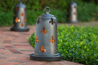 "18.5"" Bell Shaped Fleur de Lis Luminary"