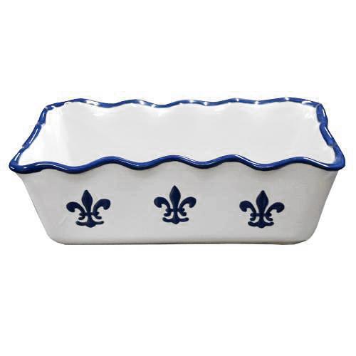 Pinched Rim Loaf Pan in Blue Fleur de Lis