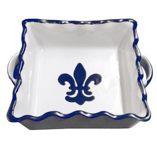 8 x 8 Pinched Rim Baker in Blue Fleur de Lis