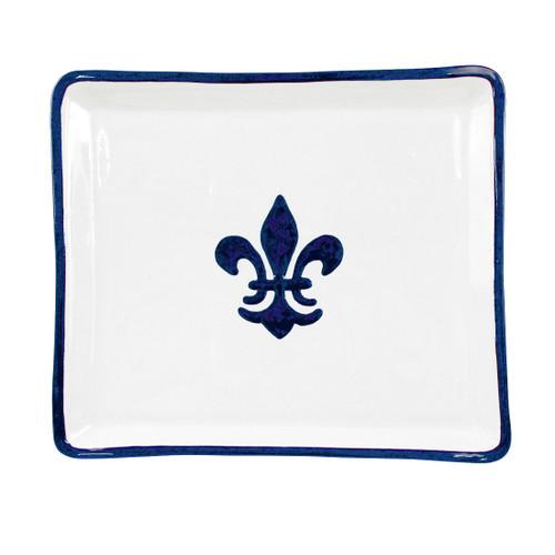 "14"" Square Tray in Blue Fleur de Lis"