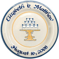 "Personalized 11"" Round Rimmed Plate with Wedding Cake"