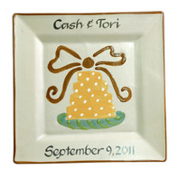 "Personalized 11"" Square Plate with Wedding Cake and Bow"