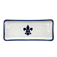 "14"" Long Rectangular Tray in Blue Fleur de Lis"