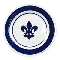 Blue Fleur de Lis Rimmed Plate