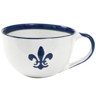 Blue Fleur de Lis Mug with Handle