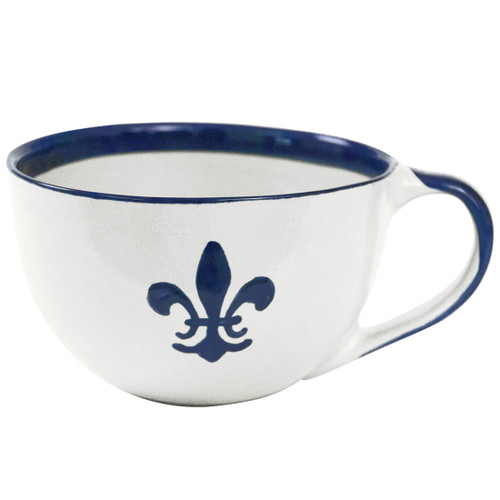 Blue Fleur de Lis Mug with Handle
