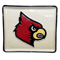 "14"" U of L Cardinal Embossed Square Tray"