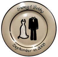 "Personalized 11"" Tuxedo & Dress Rimmed Plate"
