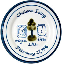 "9"" Rimmed Birth Plate Personalized with Tree, Clock and Scale Design"