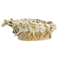 "16"" Embossed Running Horse Home Stretch Bowl in Brown"