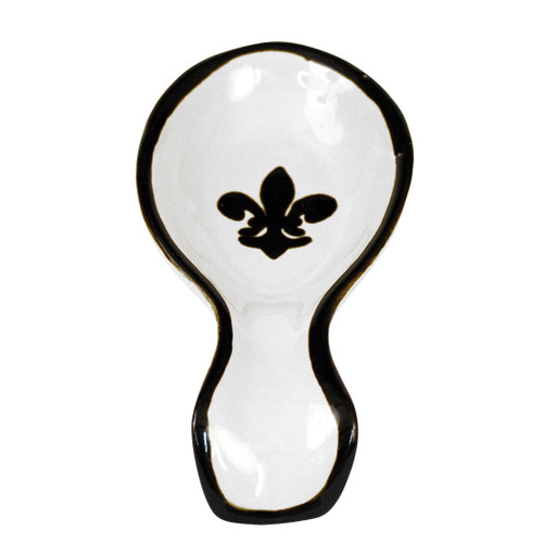 Spoon Rest with Black Fleur de Lis