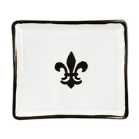 "14"" Square Tray in Black Fleur de Lis"