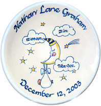 "10"" Thin Birth Plate Personalized with Blue Moon"