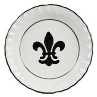 Pinched Rim Pie Plate in Black Fleur de Lis