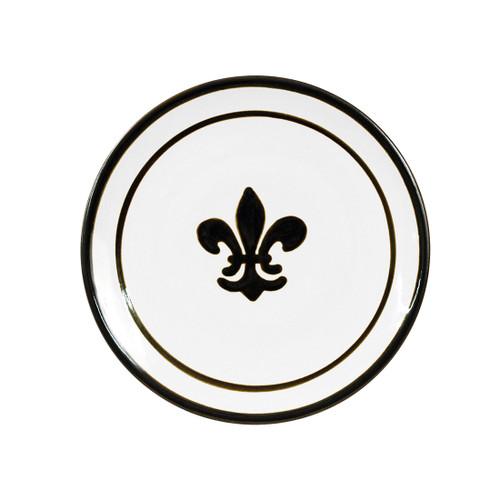 """9"""" Thin Plate in Black Fleur de Lis"""