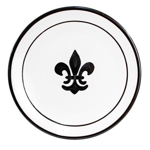 "14"" Round Platter in Black Fleur de Lis"